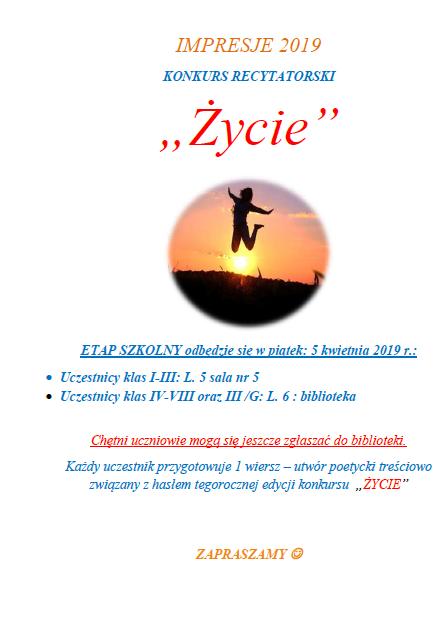 Konkurs Recytatorski Impresje 2019 Publiczna Szkoła